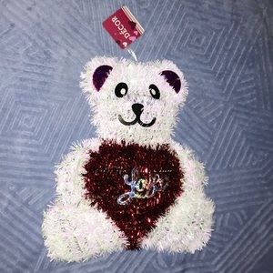 ♥️🆕 Red & White Tinsel Hanging Bear with LOVE